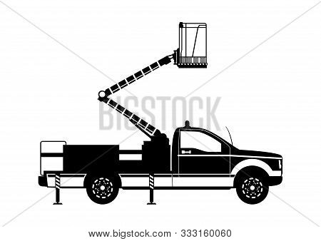 Aerial Work Platform. Boom Lift Silhouette. Side View. Flat Vector.
