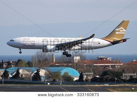 Istanbul / Turkey - March 28, 2019: Libyan Airlines Airbus A330-200 5a-lat Passenger Plane Arrival A
