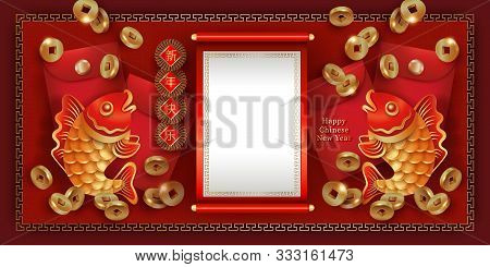 Chinese New Year Red Golden Banner. Two Fish Carps, Falling Coins, Red Envelopes For Money, Symbols