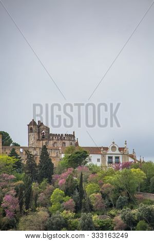 Tomar / Portugal - 04 04 2019 : View At The Convent Of Christ, Roman Catholic Convent In Tomar, Orig