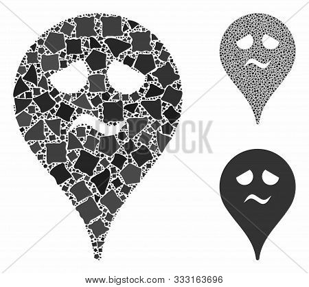 Trouble Smiley Map Marker Composition Of Rugged Elements In Variable Sizes And Color Tints, Based On