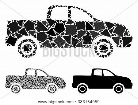 Pickup Car Mosaic Of Ragged Parts In Variable Sizes And Color Hues, Based On Pickup Car Icon. Vector