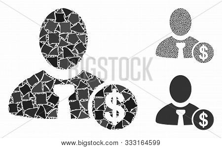 Banker Composition Of Rough Items In Different Sizes And Color Tones, Based On Banker Icon. Vector B