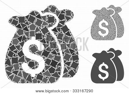 Funds Mosaic Of Ragged Items In Various Sizes And Color Tints, Based On Funds Icon. Vector Ragged Pa