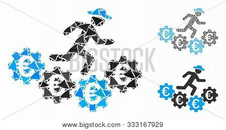 Euro Gears Runner Mosaic Of Tuberous Pieces In Different Sizes And Color Tones, Based On Euro Gears