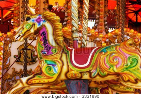 Colorful Fairground Carousel Horse