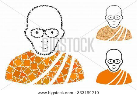 Buddhist Monk Mosaic Of Trembly Items In Different Sizes And Color Tints, Based On Buddhist Monk Ico