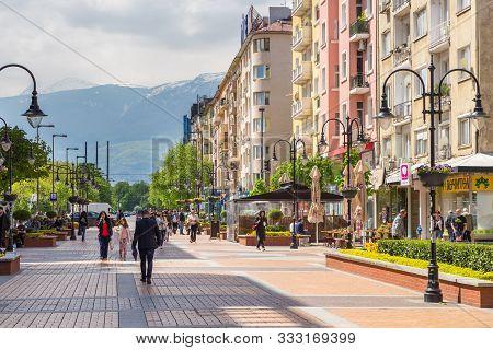 Sofia, Bulgaria- 30 April: Promenade At Vitosha Boulevard. Pedestrian Zone In The Center Of The Capi