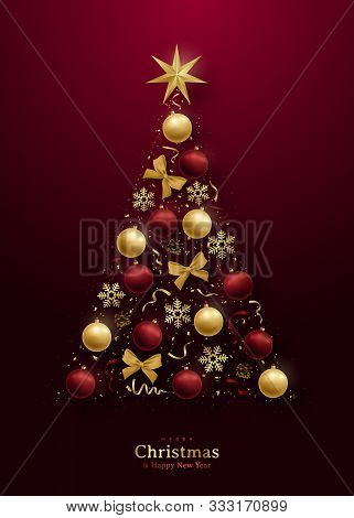 Greeting Card With 3d Christmas Tree On Dark Red Background. Realistic Shiny Christmas Decorative  B