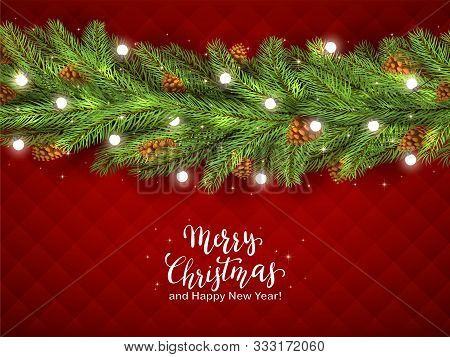 Christmas Decorations With Fir Tree Branches, Pine Cones And Christmas Lights On Red Background. Ill