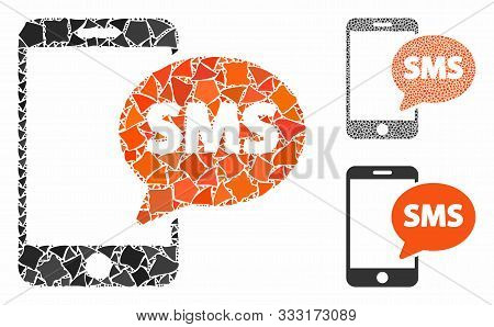 Phone Sms Mosaic Of Joggly Items In Various Sizes And Color Tinges, Based On Phone Sms Icon. Vector