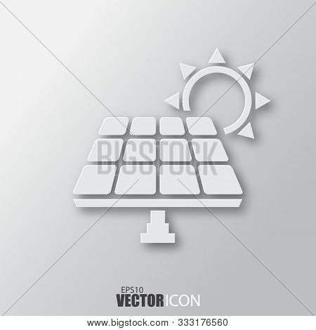 Solar Panel Icon In White Style With Shadow Isolated On Grey Background.