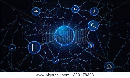 Cyberspace Technology Background. Cyber Data Network Concept. Futuristic Cyberspace Design Illustrat