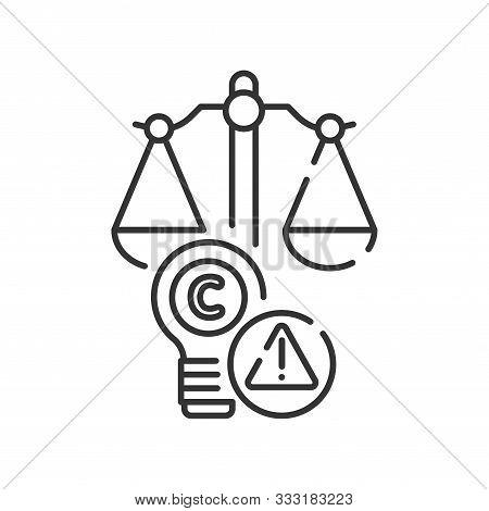 Arbitration Court Line Black Icon. Intellectual Property Infringement Concept. Copyright Law Element