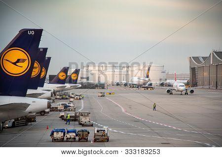 Frankfurt Germany- October  19 2018: Airplanes Of Lufthansa On The Runway At Terminal 1 Of Frankfurt