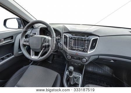 Grodno, Belarus - October 14, 2017:  360 Angle Panorama View In Leather Interior Of Prestige Modern