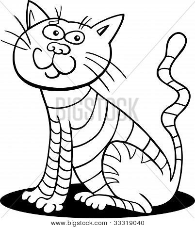 poster of cartoon illustration of sitting cat for coloring book