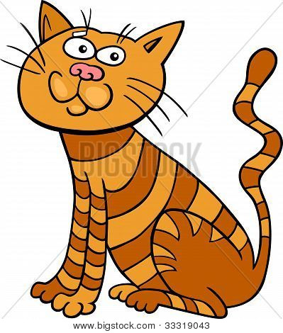 poster of cartoon illustration of funny red sitting cat