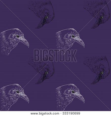 Raven In Pointillism Technique On A Liner On A Dark Background