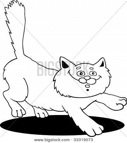 poster of cartoon illustration of running fluffy cat for coloring book