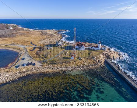 Aerial View Of Eastern Point Lighthouse And Gloucester Harbor, Cape Ann, Northeastern Massachusetts,