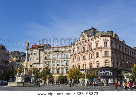 Brno, Czech Republic - October 23, 2019: Freedom Square (namesti Svobody) And Plague Column In The H