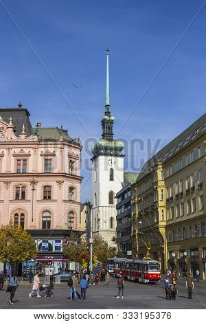 Brno, Czech Republic - October 23, 2019: Freedom Square (namesti Svobody) And Jakub (st. James) Chur