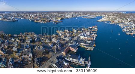Aerial View Of Rocky Neck And Gloucester Harbor Panorama In City Of Gloucester, Cape Ann, Massachuse