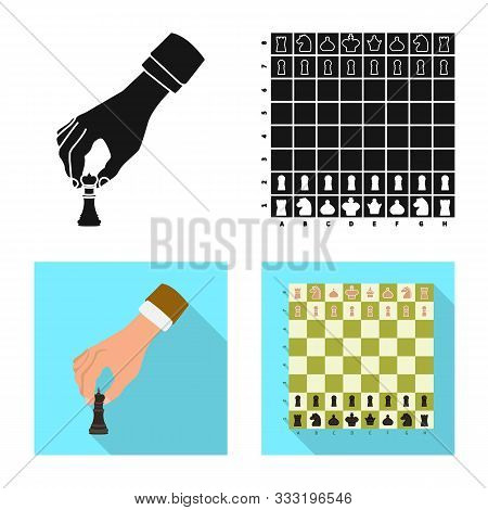 Vector Illustration Of Checkmate And Thin Logo. Set Of Checkmate And Target Stock Symbol For Web.