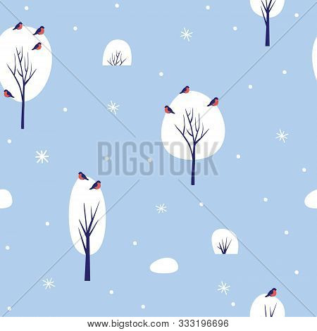 Seamless Pattern With Winter Nature On Blue Background. Snow-covered Trees And Bullfinches Showered
