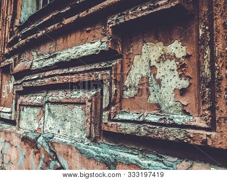 Texture Background - Wooden Surface Covered With Old Peeling Paint, Close Up Of Peeling Paint Textur