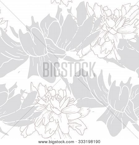 Pastel Color Peony Flowers Seamless Pattern. Outline Hand Drawing Vector Illustration.