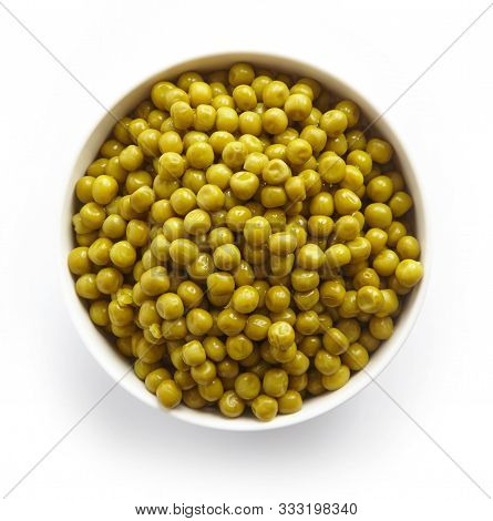 Bowl Of Green Canned Peas Isolated On White Background, Top View