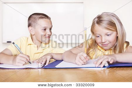 Elementary School Students doing Homework