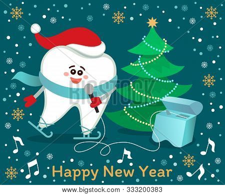 Skating Cartoon Tooth In Santa Hat And Scarf With Christmas Tree. Happy New Year! Greeting Card From