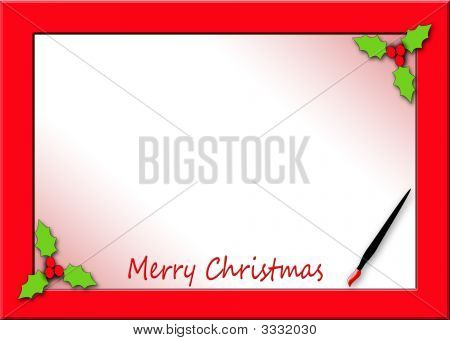 Merry Christmas With Red Border