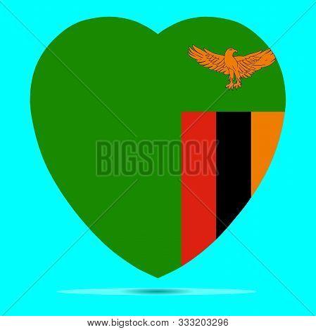 Zambia Flag In Heart Shape Vector Illustration. Eps 10.