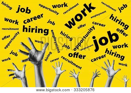 Group Hands Trying To Reach Job Offers Over A Yellow Background - Looking For Work - Job Opportunity