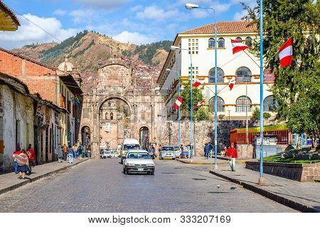 Cusco, Peru - July 9, 2010: Colonial Buildings Around Street Of Cusco, Peru, Latin America.