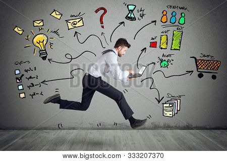 Businessman With Four Legs Runs With Too Many Tasks On Laptop. Concept Of Stress And Overwork