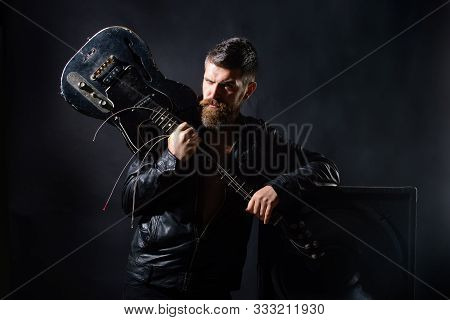 Concert Tour. Attractive Man With Guitar. Fashionable Guitarist With Classic Instrument. Music Hobby