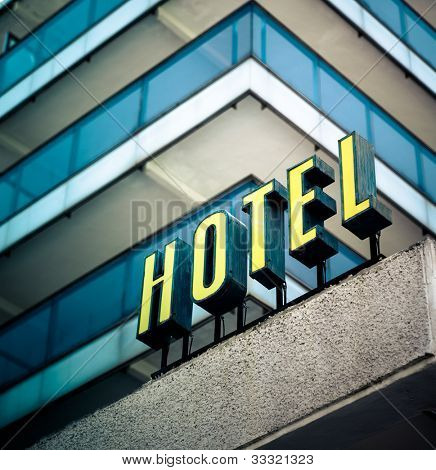 Hotel sign in yellow