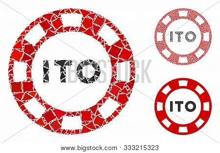 Ito Token Mosaic Of Rough Pieces In Variable Sizes And Color Hues, Based On Ito Token Icon. Vector R