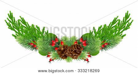 Christmas Wreath With Bump, Fir Branches, Cypress, Red Rosehip Berries Christmas Decorations. Design