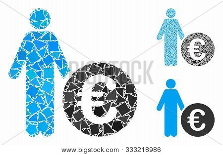 Euro Investor Mosaic Of Abrupt Parts In Various Sizes And Color Tints, Based On Euro Investor Icon.