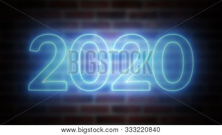 New Year Neon Sign 2020 On A Background Of Brickwork, Computer Generated. 3d Rendering Of New Year C