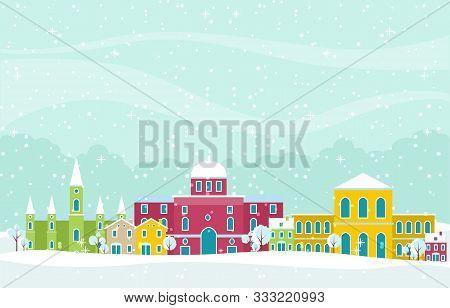 Winter Snow In Vienna City Cityscape Skyline Landmark Building Illustration