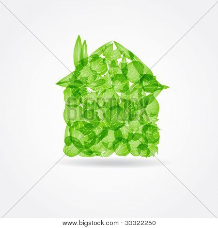 Ecological concept. Small green house from fresh leaves poster