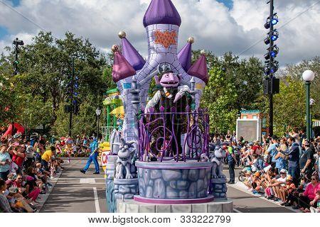 Orlando, Florida November 09, 2019. Count Von Count In Sesame Street Party Parade At Seaworld 1