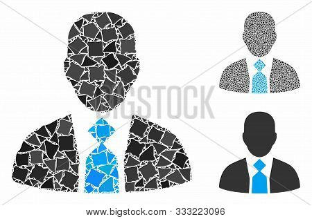 Boss Composition Of Trembly Pieces In Various Sizes And Color Tinges, Based On Boss Icon. Vector Bum